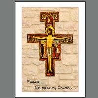 Assisi-007B  San Damiano Cross on Brick