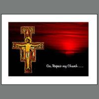Assisi-009B  San Damiano Cross at Sunset