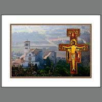 Assisi-016B  Cross and Basilica