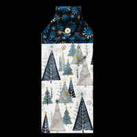 T-CHRS-093  Blue Trees with Stars & Snowflakes
