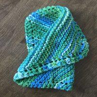 DSH-001  Blue & Green crocheted dishcloth