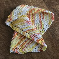 DSH-002 Multi-colored ~ yellow, salmon, white crocheted dishcloth