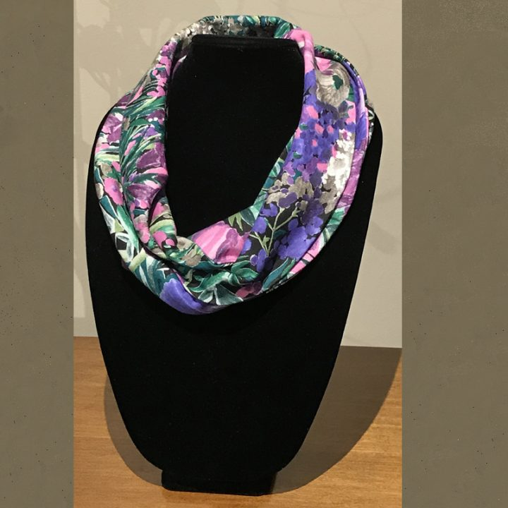 Infinity scarf in maves, lavender, and greens